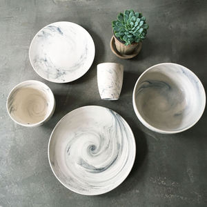 Marble Effect Porcelain Crockery - mugs