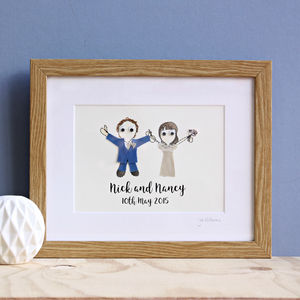 Personalised Wedding Couple Embroidered Artwork - 2nd anniversary: cotton