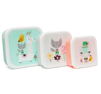Set Of Animal Themed Lunch Boxes