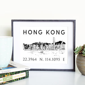 Hong Kong Illustrated Skyline Print - architecture & buildings
