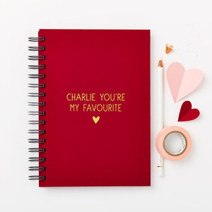 Personalised Love Message Hardback Notebook - writing
