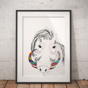 Warthog African Animal Illustration And Pattern Print
