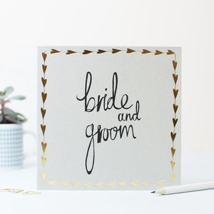 Bride And Groom Gold Hearts Card