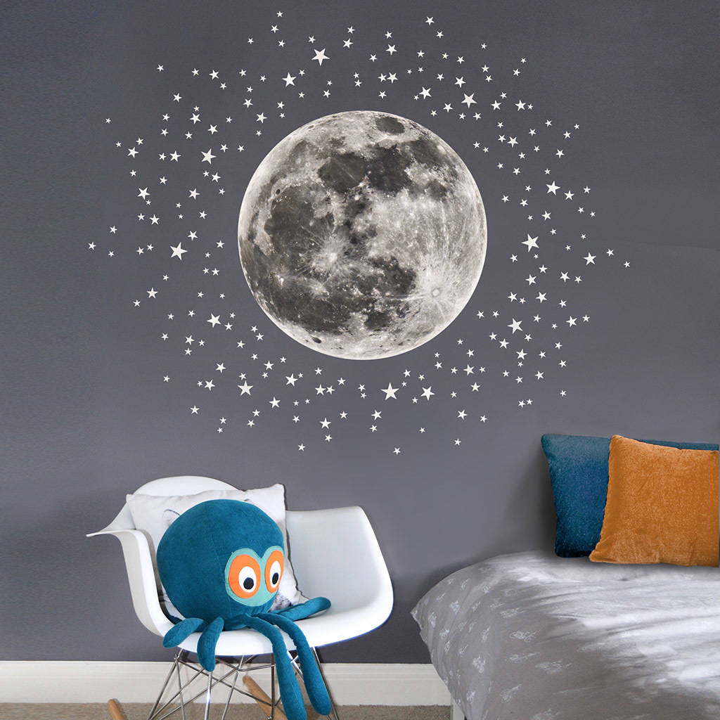 Wall Mural Childrens Bedroom Moon And Stars Fabric Wall Sticker By Koko Kids
