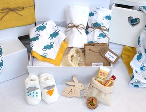 Unisex Pamper Hamper For Mother And Baby, Cloud Print - bathroom