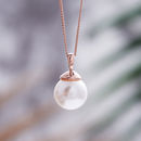 Rose Gold Pearl Necklace - Off White Swarovski Pearl