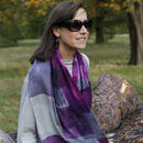 Plum Squares Print Scarf With Gift Box And Card