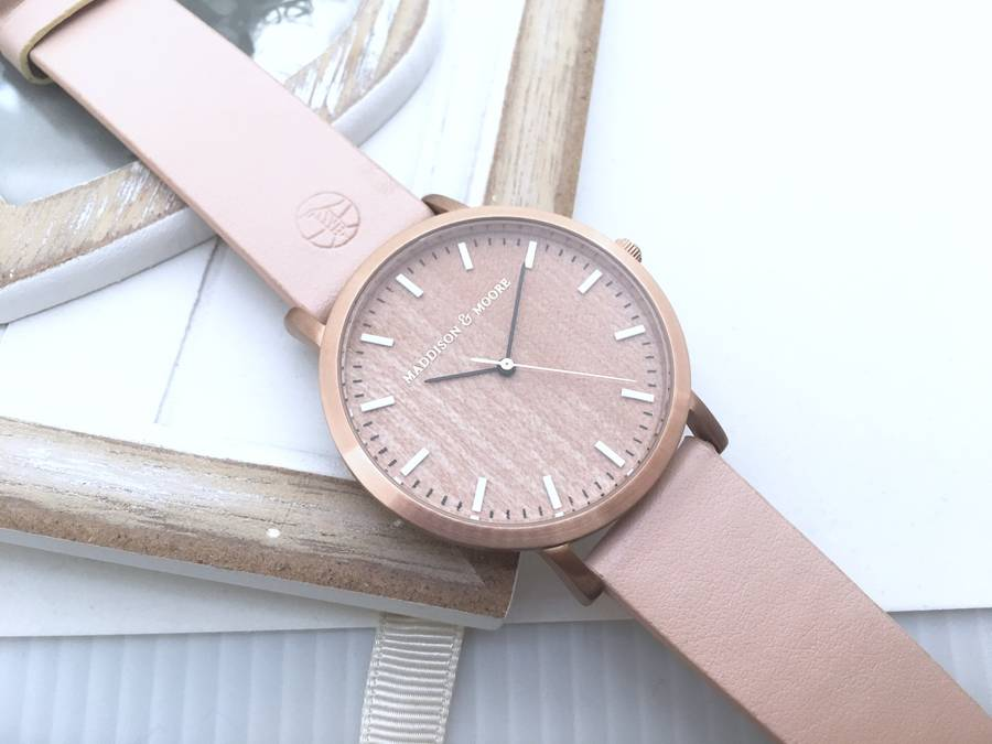 classic rose gold pink leather unisex wood watch acer friends wooden classic