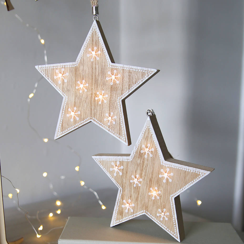 wooden star light hanging decoration by red lilly ...