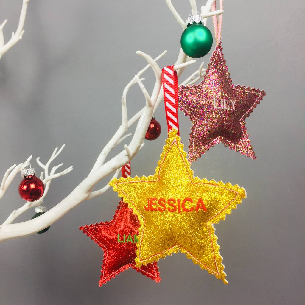 personalised christmas star decorations