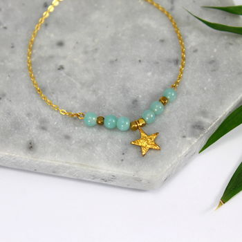 Gold Star Charm Bracelet With Semi Precious Stones