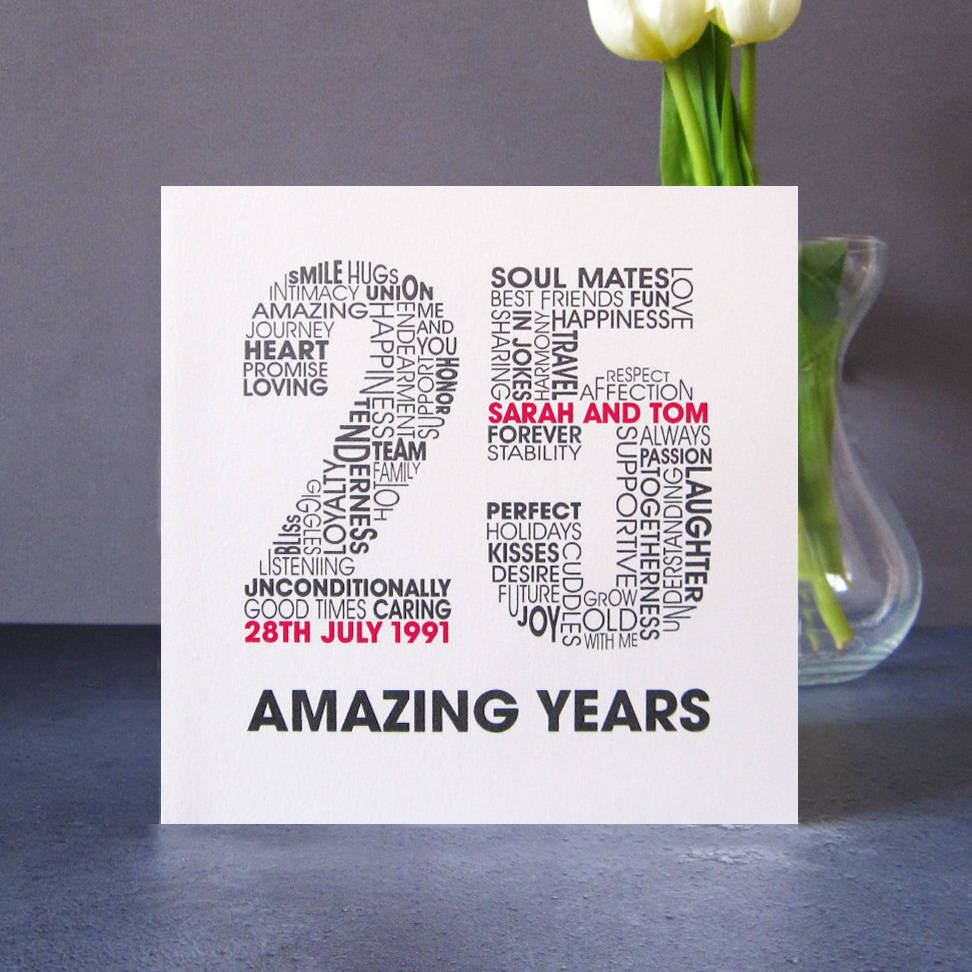 personalised silver wedding anniversary card by mrs l cards