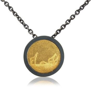 Black And Gold Giraffe Family Necklace