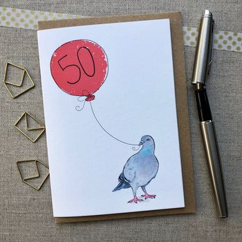 Personalised 50th Birthday Pigeon Card