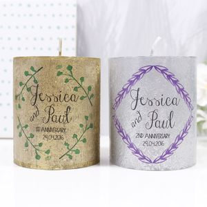 Personalised Anniversary Metallic Candle Gift - tableware