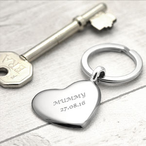 Silver Key Ring Heart Design - keyrings