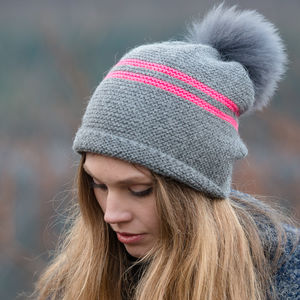 Neon Stripe Preppy Hat With Detachable Pom Pom
