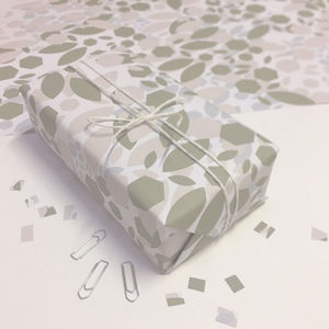 Floral Geometric Christmas Wrapping Paper - ribbon & wrap