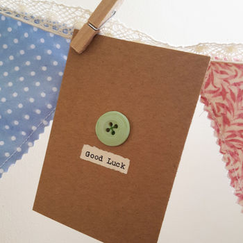 'Good Luck' Porcelain Button Card