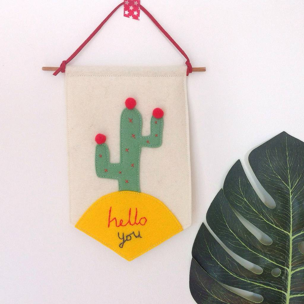 'Hello You' Cactus Embroidered Wall Hanging Pennant