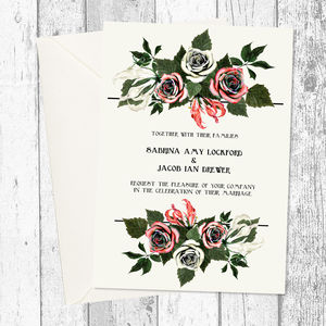 Red Rose Greenery Bouquet Wedding Invitation - wedding stationery