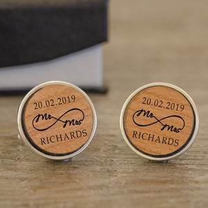 Personalised Silver And Cherry Wood Infinity Cufflinks - new in wedding styling
