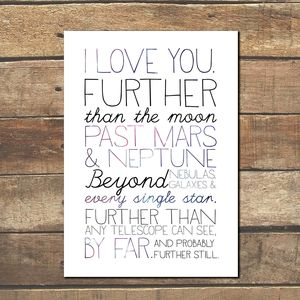 'How Much Do I Love You?' Galaxy Typographic Print