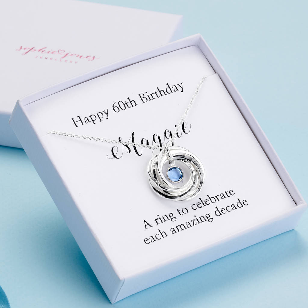 Personalised 60th Birthday Necklace With Birthstone