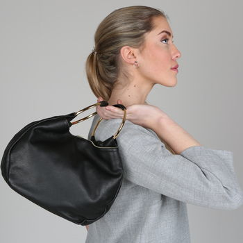 Leather Bag With Metal Handle