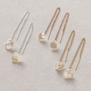 Keishi Pearl Threader Earrings - earrings