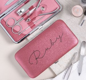 Personalised Manicure Set For Her Ruby Red