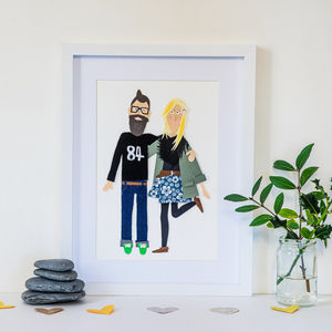 Personalised Paper Collage Couples Portrait - engagement gifts