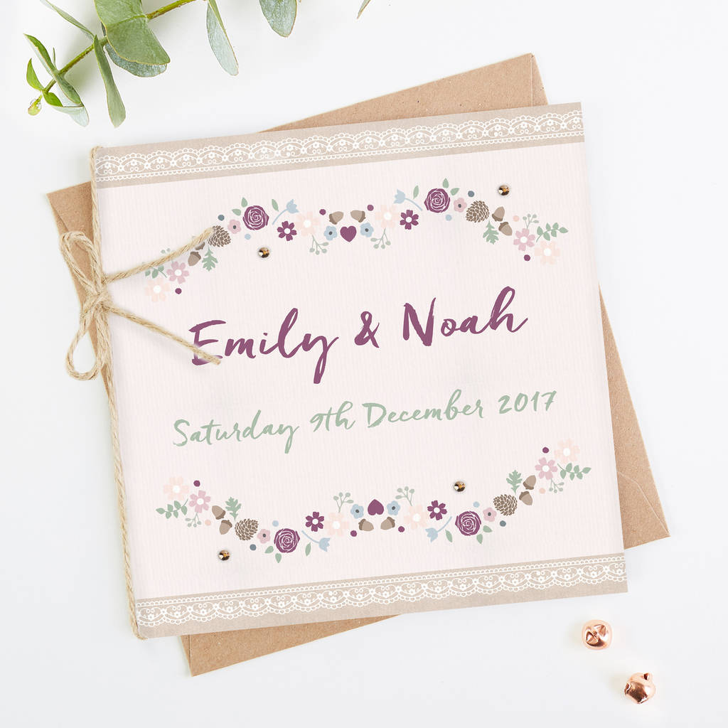 Winter Floral With Pine Cones Folded Wedding Invitation