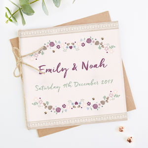 Winter Floral With Pine Cones Folded Wedding Invitation - invitations