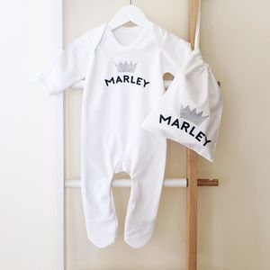 Personalised 'Silver Crown' New Baby Gift Set - clothing