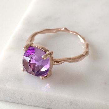 Twig Statement Ring With Square Cushion Cut Amethyst