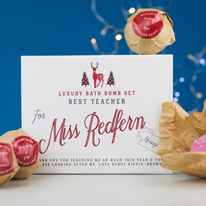 Personalised Teacher Gift Bath Bomb Set