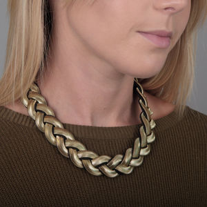 Braided Chain Collar Necklace - summer sale