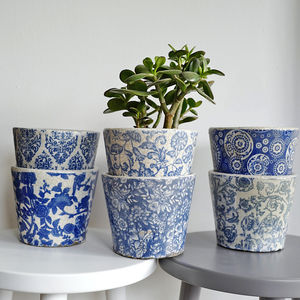 Blue And White Patterned Ceramic Plant Pot - pots & planters