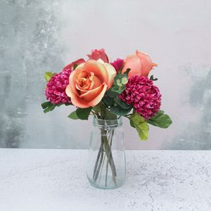 Artificial Rose And Chrysanthemum Bouquet Burnt Orange