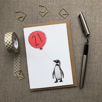 Personalised 21st Birthday Card Penguin Design
