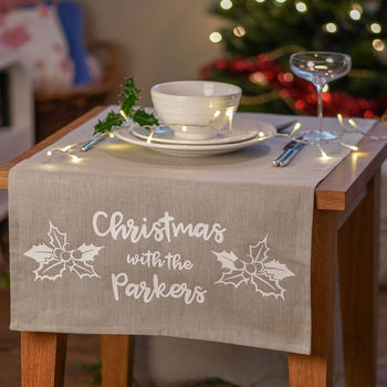 Personalised Linen Christmas Holly Table Runner
