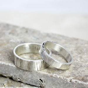 Personalised Silver Matching Bark Rings