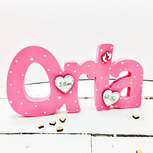 Name Freestanding Personalised Mini Hearts Or Stars - children's room