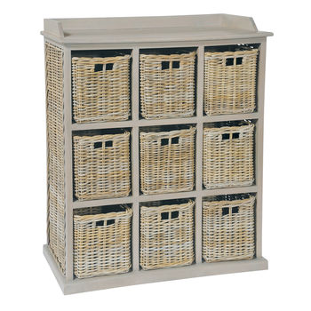 Grey Wash Nine Drawer Basket Chest