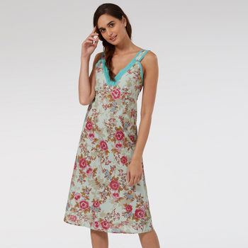 Ladies Lace Trim Nightie In Blue Rose Print