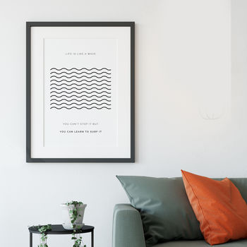 'Life Is Like A Wave' Typographic Print