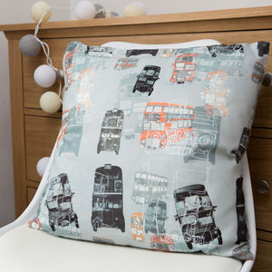 Linen London Bus Cushion - children's room