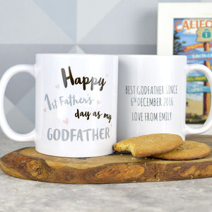 Personalised Godfather First Father's Day Mug - personalised