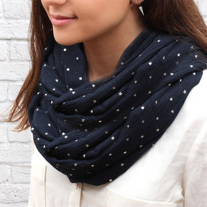 Personalised Supersoft Silver Star Snood - celestial gifts
